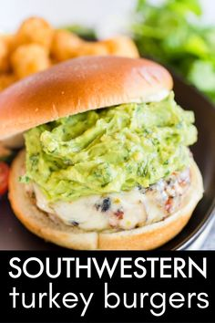 Southwestern Turkey Burgers are grilled turkey burgers with southwestern spices, jalapenos, red onions, and topped with Pepper Jack cheese and guacamole!
