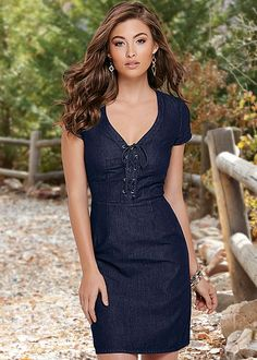 This denim dress is having a major moment. Venus lace up detail denim dress.