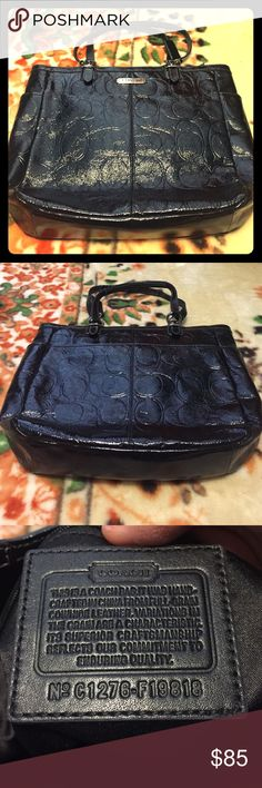 Authentic Leather Coach tote Used once. No rips or odors.                                  Black Style: Tote bagPatent leather Model: F19818 Exterior: Signature embossed patent leather body Entry: Zip-top closure Hardware: Silvertone Lining: Fabric Handles: Double flat Exterior pockets: Two (2) side pockets Interior pockets: Zippered pocket, cell phone pocket, and multifunctional pockets 12.25 inches high x 12.75 inches long x 3.5 inches deep Drop: 8.75 inches Coach Bags Totes
