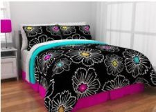 Teen Girls Black White Colorful Bloom 8P QUEEN Reversible Bed Bag Comforter Set