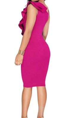 2119e07e19e Mirrliy Womens Flouncing VNeck HiWaist Silm Fit One Step Career Sexy Dress  Rose Red S