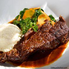 costillas de res | 12 oz. bone in short ribs, collared greens, carrot & celery root purée