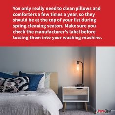 #SpringCleaning is the perfect time to tackle those bulky items you might typically put off! House Cleaning Tips, Spring Cleaning, Cleaning Hacks, How To Clean Pillows, Clean House, Washing Machine, Comforters, Home Decor, Creature Comforts