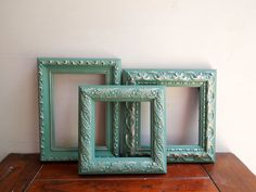 Ornate Wall Picture Frames in Sea Green Aqua Chalk Paint with Gold Gilt, Open Gallery Wall Photo Frames Set of Three with Backing and Glass on Etsy, $50.00