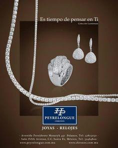 #JoyasPeyrelongue Versatilidad y elegante sencillez, inspiradas en el espíritu atemporal y clásico del oro blanco, y el resplandor eterno de los diamantes vibra intensamente en Lumineuse, esta grandiosa colección de Peyrelongue Chronos.
