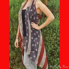 All American Flag Cardigan Vest - Peachy Keen Boutique
