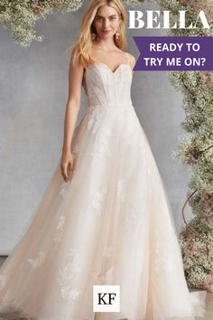 "Tulle and embroidery Blush ball gown with sweetheart corset bodice and thin straps. This utterly romantic wedding dress is sweet and sexy for a look that is traditional and fresh. Also available in Ivory and Blue.Check out our "" SLEEVE LESS"" wedding dress selection. #weddingdressinspo #weddingdressideas#weddingdress2020 Bridal Gowns, Wedding Dresses, Embroidered Flowers, Wedding Styles, Corset, Bodice, Ball Gowns, Tulle, Blue Check"