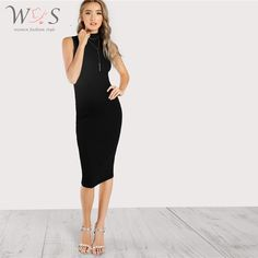 Classy and Basics Pencil Plain Bodycon Stand Collar Sleeveless Natural Black Midi Length High Neck Rib Knit Sleeveless Bodycon Dress Men's Fashion, Fashion News, Fashion Outfits, Fashion Black, Trendy Outfits, Vintage Fashion, Fall Dresses, Dresses For Work, Prom Dresses