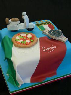 #Italian themed birthday cake #Vespa #Rolex #pizza