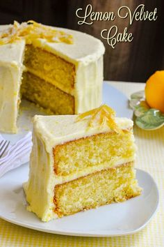 Our most popular cake to date for its real lemon flavour and incredible light, airy texture, while still staying moist and delicious. # lemon cake Lemon Velvet Cake - homemade, light textured, and great lemon flavour! Lemon Desserts, Lemon Recipes, Just Desserts, Baking Recipes, Dessert Recipes, Gourmet Desserts, Top Recipes, Plated Desserts, Easy Recipes
