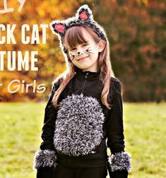 Do you need a simple – but super cute – kids costume for Halloween or the next dress up party? With items you probably already have in your home, you can make this easy DIY kids' black cat costume in less than an hour. You can make an adorable black . Black Cat Halloween Costume, Cat Costume Kids, Black Cat Costumes, Cute Costumes For Kids, Easy Diys For Kids, Crepe Paper Roses, Last Minute Costumes, Next Dresses, Cute Kids