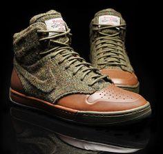 Harris Tweed, Nike Air Royal, for rugged wintering.