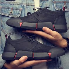 NEW Brand High quality all Black Men& leather casual shoes Fashion Breathable Sneakers fashion flats big plus size 45 46 Moda Sneakers, Sneakers Mode, Casual Sneakers, Sneakers Fashion, Fashion Shoes, Shoes Sneakers, Shoes Men, Platform Sneakers, Cool Mens Sneakers