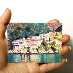 """ORIGINAL ART ACEO Cityscape Europe PICTURE WATERCOLOR PAINTING """"Greece"""" signed 