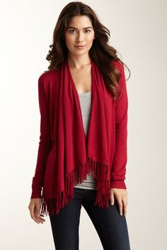 Washington Square Knit Cardigan.. I like it more without the fringe