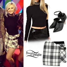 Perrie Edwards appeared on MTV News today wearing the ASOS Crop Top with Chain Neck and Long Sleeves ($49.83), a Three Floor Chit Chat Skirt (£89.00) and a pair of Topshop Poem Premium Shoes ($160.00).