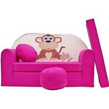 Girls Pink Sofa Bed Kid Futon Footstool Cushion Pillow Sleepover