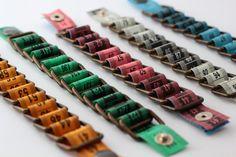 Tape measure bracelet, upcycled vinyl by HomeMadeKarma on Etsy
