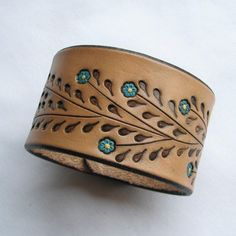 Little Blue Flowers on a Wide Leather Wristband – Leather Cuff Bracelet- Back by Popular Demand – nahkakorut Leather Cuffs, Leather Tooling, Brown Leather, Leather Accessories, Leather Jewelry, Bracelets For Men, Cuff Bracelets, Leather Bracelets, Leather Wristbands