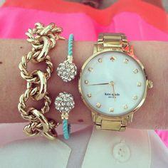 Wish list: Kate spade watch.... Gold chain bracelet is from j crew