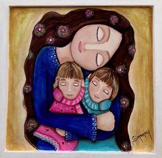 Desde mi galería  Mis niñas  Ternura  Acrílico en retablo Pebble Pictures, Painted Plates, Pebble Painting, Whimsical Art, Stone Art, Rock Art, Art Girl, Art Lessons, Creative Art