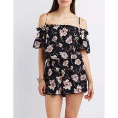 Charlotte Russe Floral Cold Shoulder Romper ($33) ❤ liked on Polyvore featuring jumpsuits, rompers, blue combo, cutout romper, floral romper, playsuit romper, charlotte russe and short sleeve romper