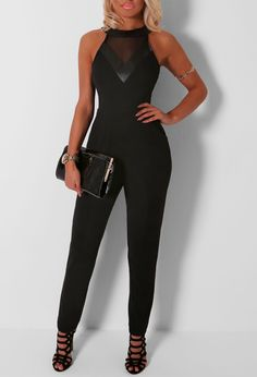Go super sexy in this black jumpsuit! In a beaut crepe fabric, this jumpsuit features pockets to the front, mesh and leatherette panels to the chest, and looks perfect with high heels. Crepe Fabric, Online Dress Shopping, Black Jumpsuit, Black Mesh, Underarm, Dresses Online, High Heels, Sexy, Model