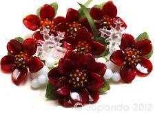 JOPANDA lampwork Beads handmade SRA | Red Poinsettias, Mistletoe & Ice Crystal