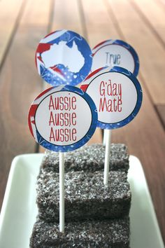 Australia Day Decor - could just use Aussie flag toothpicks Party Co, Party Time, Australian Party, Australia Day Celebrations, Aussie Food, Aussie Bbq, Aus Day, Anzac Day, Diy Party Decorations