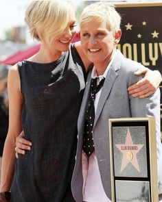 Ellen DeGeneres Picture 82 - Ellen DeGeneres Is Honored with A Star on The Hollywood Walk of Fame Ellen Degeneres And Portia, Ellen And Portia, Portia De Rossi, The Ellen Show, Hollywood Walk Of Fame, Short Hairstyles For Women, Celebs, Celebrities, Girl Humor