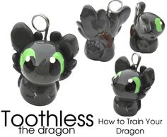 GLOWING Toothless the Dragon cell phone charm How to by myKobito,