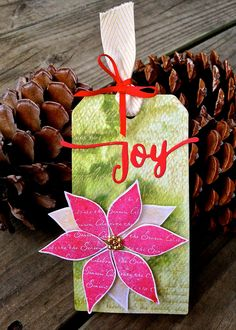 I made another mixed media tag for Loll's 12 Tags of Christmas Event . It's been so inspiring seeing all the beautiful mixed media tags fro. Christmas Tag, Christmas Crafts, Xmas, Atc Cards, Epiphany, Winter Theme, Distress Ink, Poinsettia, Altered Art