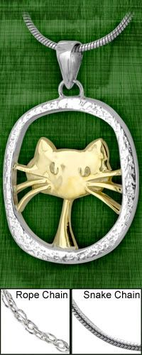Cute Cat Sterling Necklace at The Animal Rescue Site
