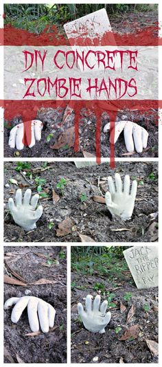 HALLOWEEN CRAFT: DIY Concrete Zombie Hands
