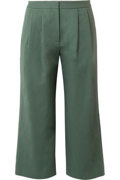 Pleated Stretch-cotton Poplin Culottes - Army green Adam Lippes f9swvxhxT