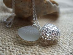 Scottish sea glass pendant in white with filigree by TiliabytheSea