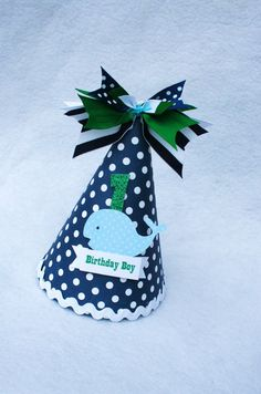 Ships Ahoy Whale birthday party hat in navy by LittlePinkTractor, $15.50