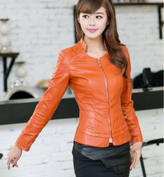 Cheap Envío gratis 2014 nueva moda chaqueta de cuero mujeres sección corta delgada de la PU jaqueta de couro feminina gran patio M 2XL 369, Compro Calidad Cuero y Ante directamente de los surtidores de China: 2015 New High Quality Fashion Big Yards PU Leather Jacket Women Short Section Slim Stand Collar Veste Cuir Femme Black M