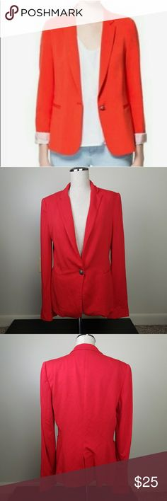 ZARA Basic Red Blazer size Medium EUC  Zara Basic blazer with two faux front pockets and shoulder pads Size Medium. No significant evidence of wear. Vibrant red color.  Small stain on inside of sleeve (please see picture)Thank you for visiting my closet. 😍 Zara Jackets & Coats Blazers