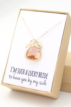 Peach Champagne / Gold Bezel Charm Necklace Peach by ForTheMaids