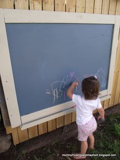 Outdoor Chalkboard made from recycled pallet timber and old exterior house paint mixed with grout.only cost was the screws! CUTE, can hang on fence for some outdoor fun Backyard Play, Outdoor Play, Outdoor Learning, Outdoor Spaces, Chalk Wall, Chalk Board, Blackboard Paint, Outdoor Chalkboard, Outdoor Classroom