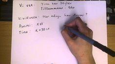 Ma åk 6: Algebra - Att lösa problem med ekvationer