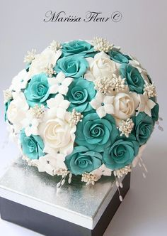 turquoise blue wedding bouquet - Google Search