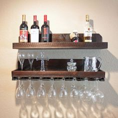 "32"" Wall Wine Rack and Glass Holder with Shelf, Wood Wall-Mounted Rustic Wine Rack, Hanging Stemware Holder #WoodworkingPlansWineRack #wineracks"