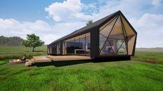 Prefab off-grid cabin Cabin House Plans, Beach House Plans, Family House Plans, Tiny House Cabin, Small Prefab Cabins, Prefabricated Houses, Prefab Homes, Modern Cabins, Off Grid House