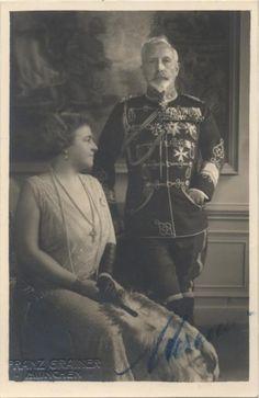 German Emperor Wilhelm II (1859-1941), 1st Child of Princess Victoria (1840-1901) & Frederick III (1831–1888) King of Prussia & Wilhelm II's  2nd wife Princess Hermine Reuss of Greiz (1887-1947), 5th child of  Heinrich XXII Prince Reuss of Greiz (1846–1902) & Princess Ida Mathilde Adelheid of Schaumburg-Lippe (1852–1891). In 1922 Wilhelm II invited Hermine to visit in Doorn. He found her very attractive & enjoyed her company. The 2 had both being recently widowed when they met.
