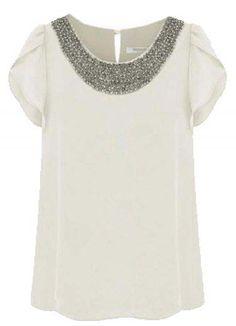 White Short Sleeve Bead Chiffon Blouse - Sheinside.com