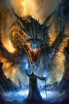 "Dragons are semi-demonic creatures descended from the dinosaurs. They have developed a symbiotic relationship with a race of fiend known as ""Drakons"", which possess them and provide them with malign intellect and fiery breath in exchange for their impressive physical capabilities. Here is one being summoned by a Warlock (RPG concept)"