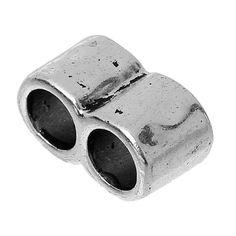 8 SEASONS Шарики Прокладки Прямоугольник Старинное Серебро 2 Отверстия Около 15 мм (5/8 ) х 8 мм (3/8), Отверстие: Приблизительно 5.7 мм, 50 Шт.