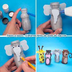 Lembrancinhas para Festa Safari - Animais feitos com Potes de Iogurte - Dicas pra Mamãe